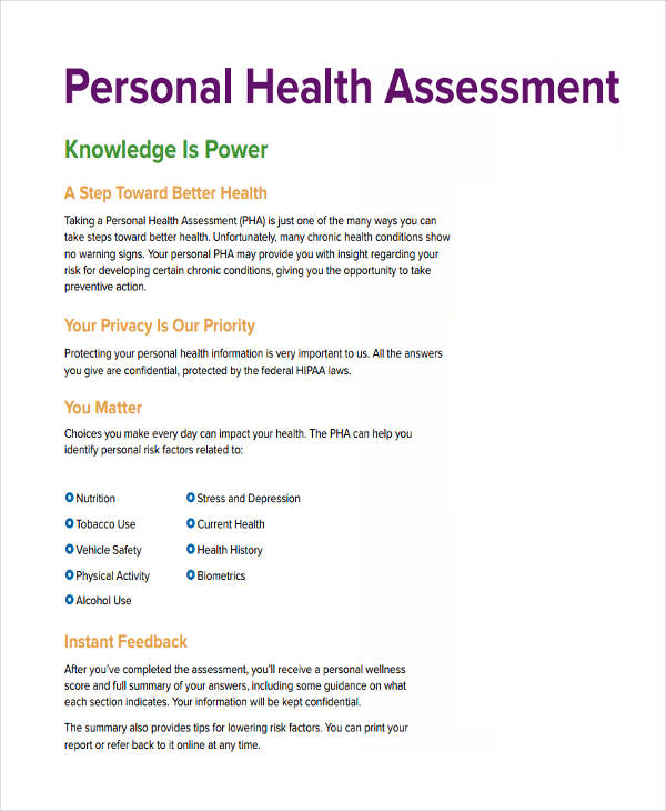 36+ Health Assessment Examples  Samples