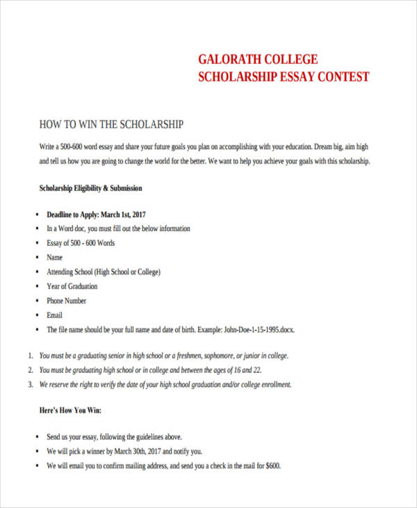 how to write an essay for a scholarship examples