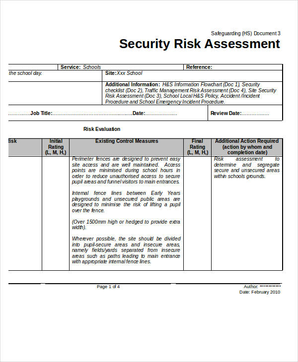 40+ Risk Assessment Examples  Samples - sample security risk assessment