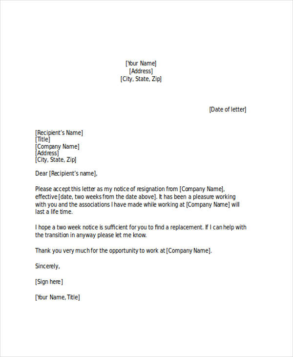 2 Week Notice Letter How To Write A 2 Weeks Notice Bio Example - example of resignation letter