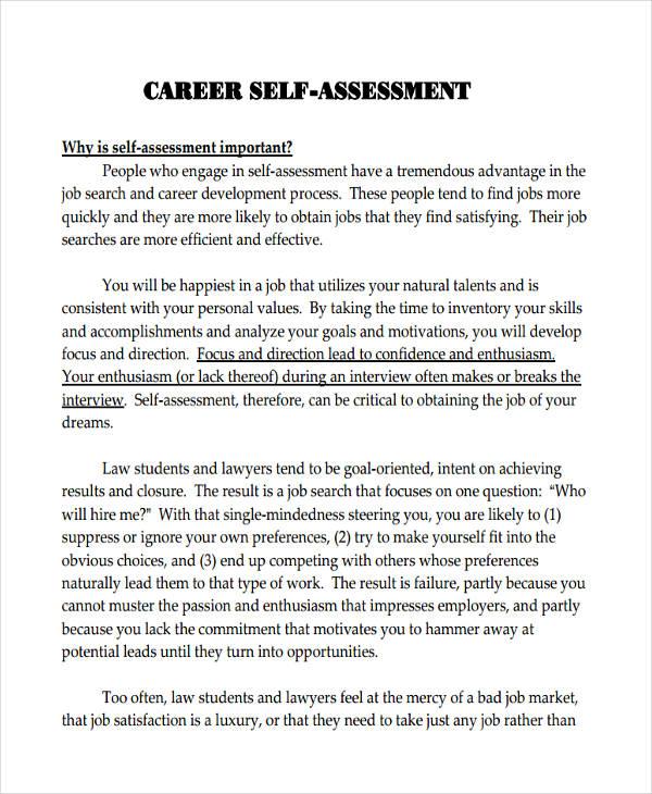 33+ Self Assessment Examples  Samples - PDF - job self assessment