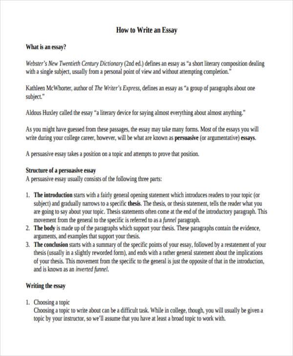 persuasive essays example college