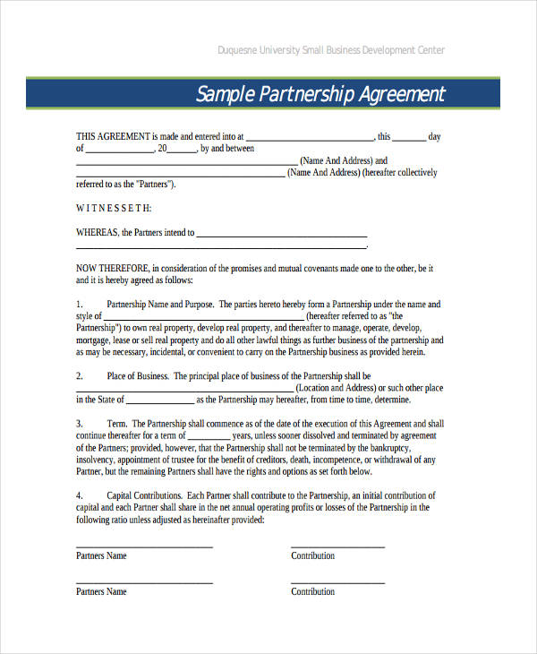 49+ Examples of Partnership Agreements - Sample Business Partnership Agreement
