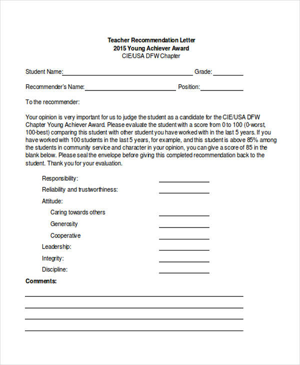 student and teacher recommendation letter samples