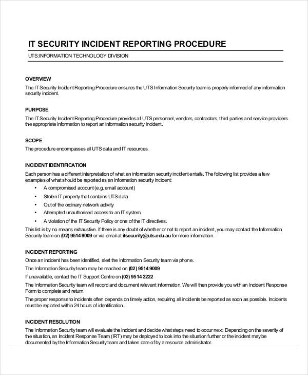 31+ Incident Report Examples , Samples - incident report sample format