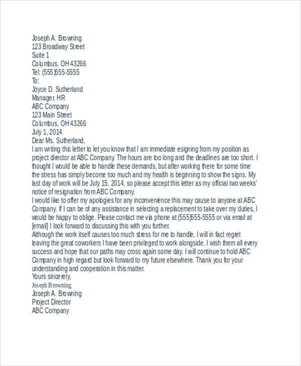 49+ Resignation Letter Examples - immediate resignation letter sample