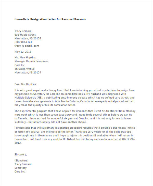 resignation letters – Immediate Resignation Letter