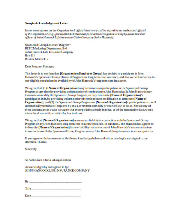 41+ Acknowledgement Letter Examples  Samples - DOC
