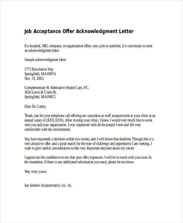 Acceptance Of Offer 9+ acceptance mail for offer letter reference - job acceptance