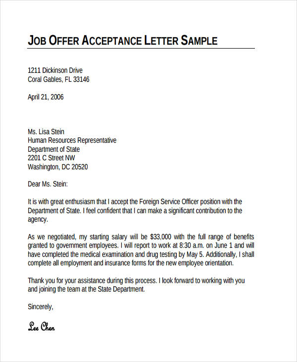 job offer thank you note