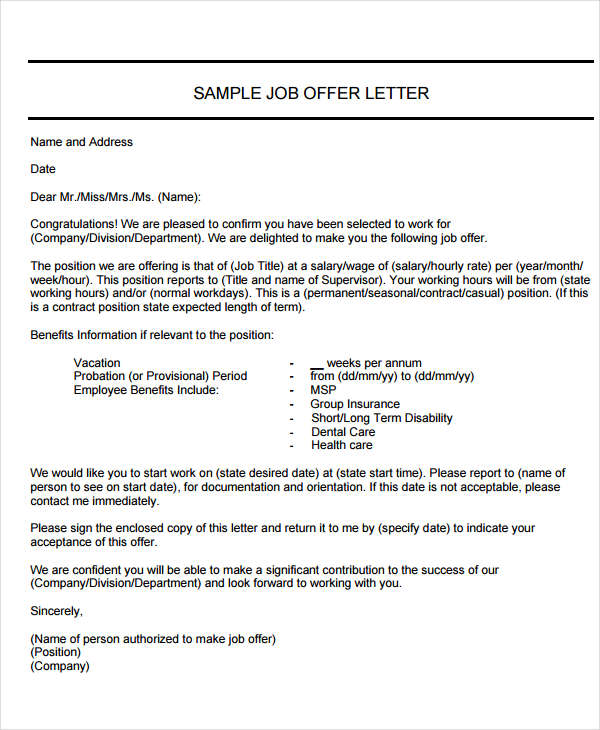 40+ Offer Letter Examples Examples