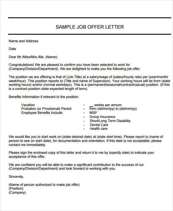 40+ Offer Letter Examples - offer letter sample