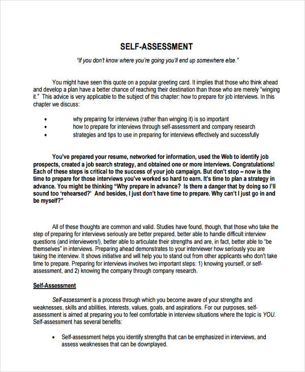 33+ Self Assessment Examples  Samples - PDF - sample assessment plan
