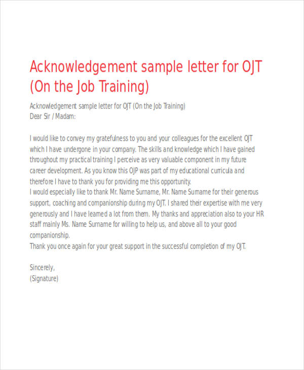 Acknowledgement on the job training Essay Sample - March 2019 - 1158