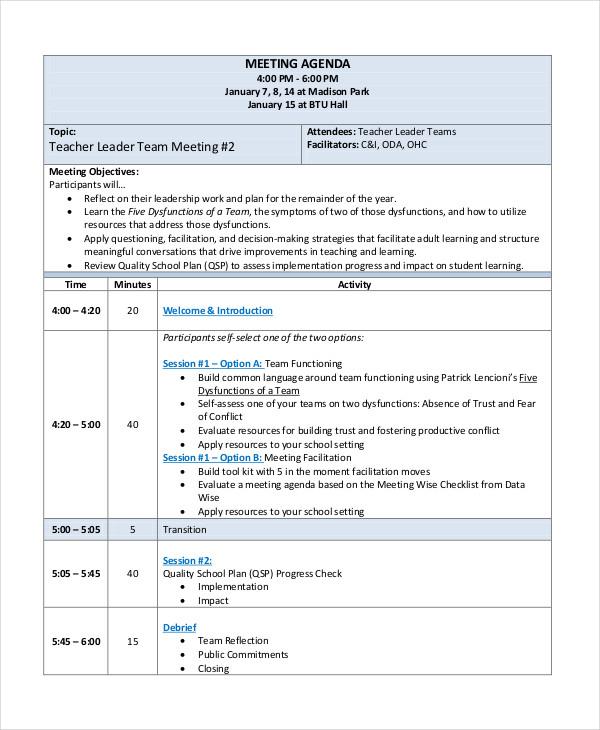 54+ Meeting Agenda Examples