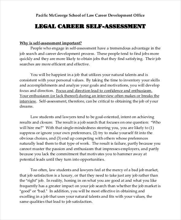 job self assessment sample