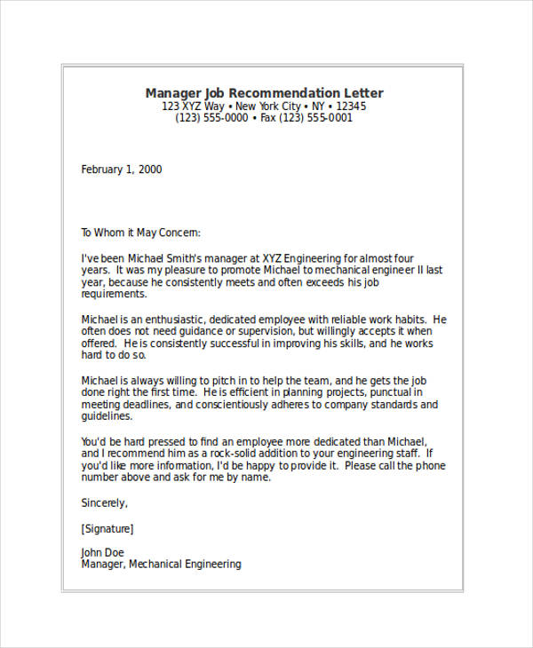 79+ Examples of Recommendation Letters - manager reference letter