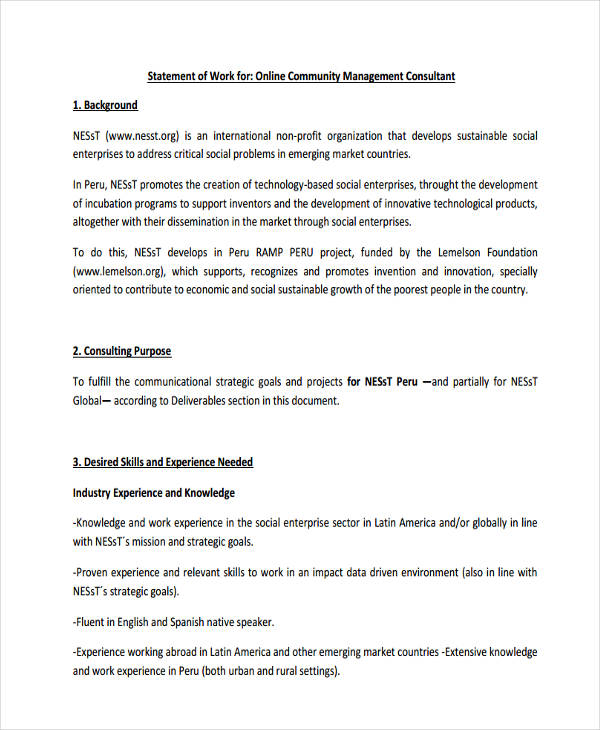 29+ Statement of Work Examples  Samples - examples of work experience