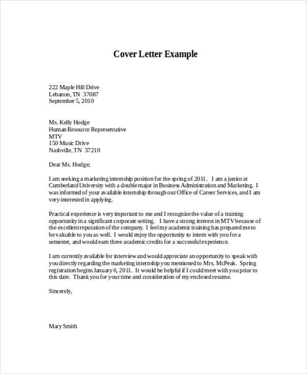 46+ Application Letter Examples  Samples - PDF, DOC - Application Letter Example