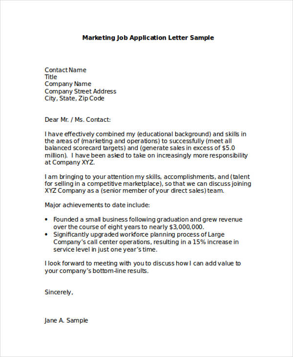 46+ Application Letter Examples  Samples - PDF, DOC - sample of a cover letter for a jobcover letter for customer service rep