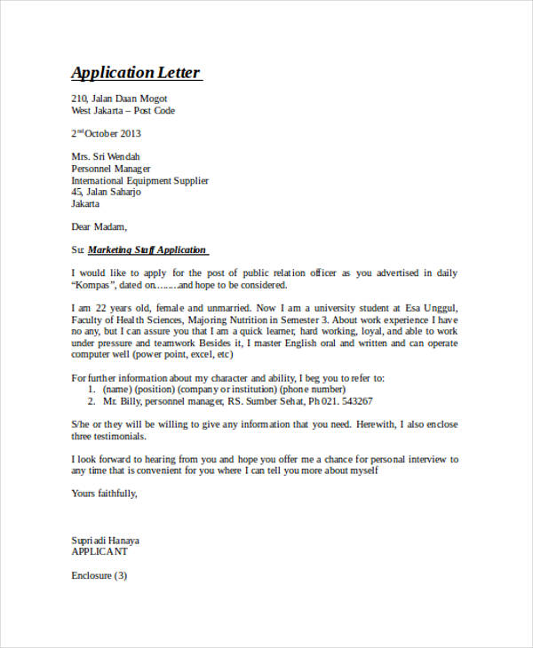 46+ Application Letter Examples  Samples - PDF, DOC - application letters