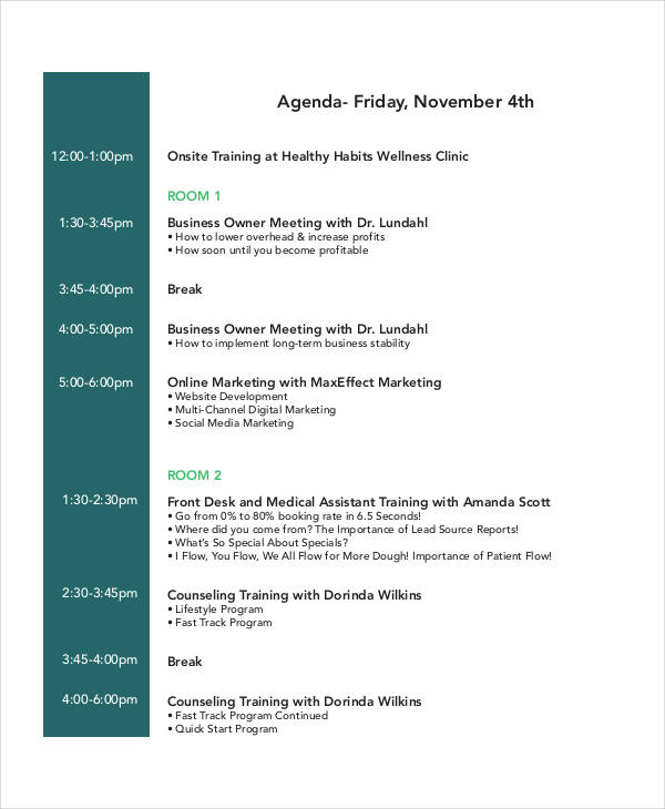 23+ Training Agenda Examples  Samples - Training Agenda Template