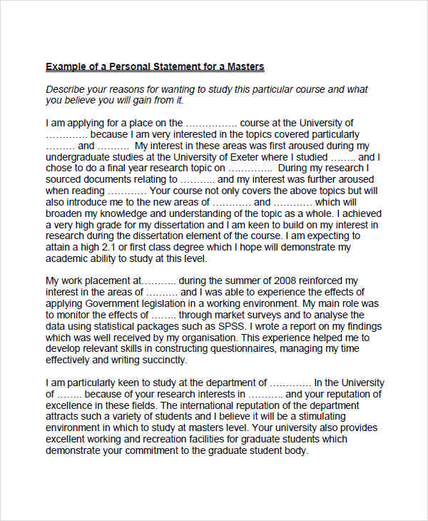 8+ Personal Statement Examples  Samples - examples of personal statements