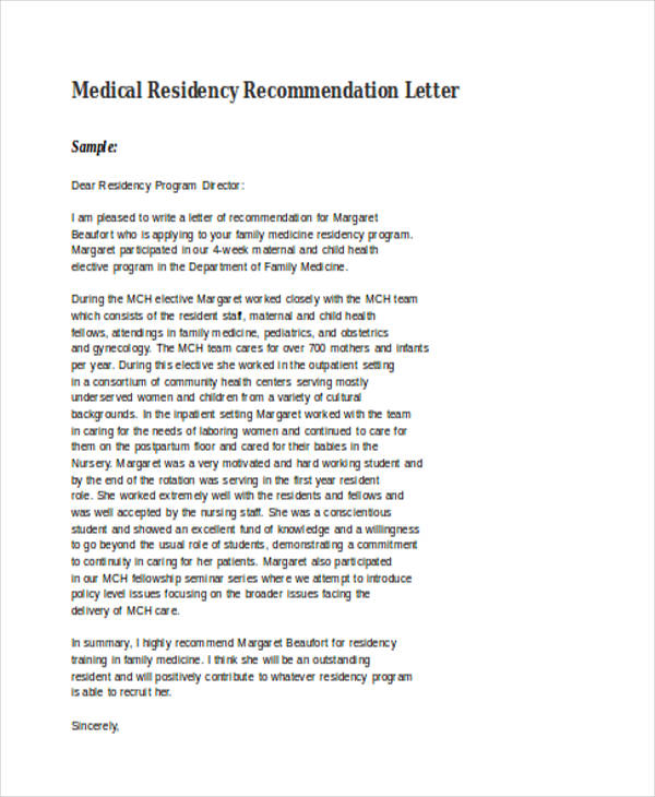 letter of recommendation medical residency