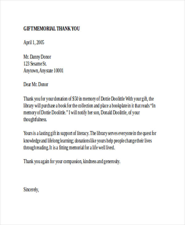 thank you letter for a gift