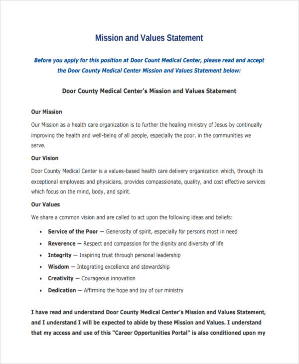 7+ Medical Statement Examples, Samples - personal value statement examples