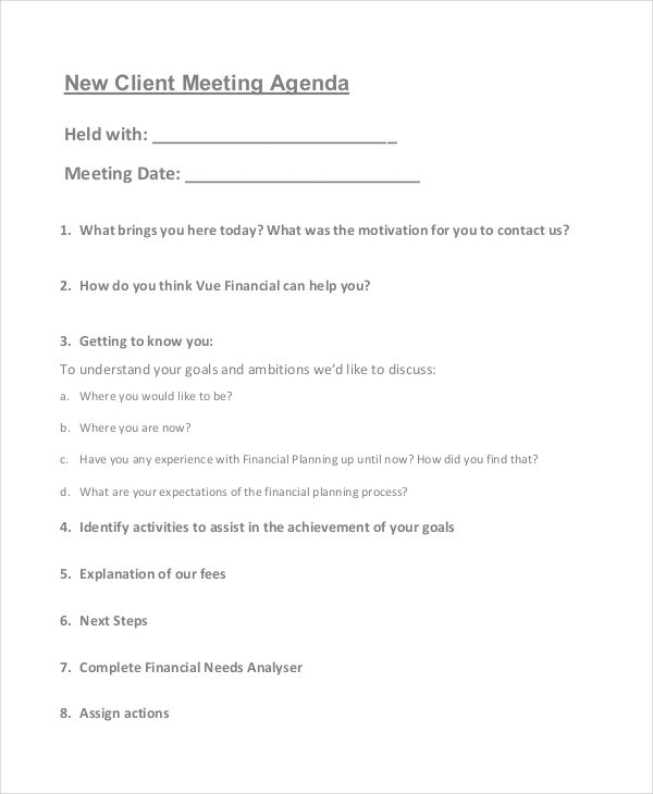 54+ Meeting Agenda Examples - meeting outline template