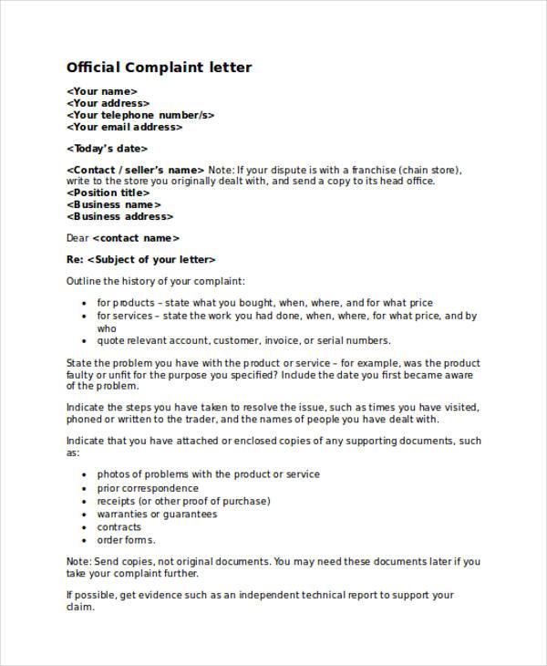 30+ Complaint Letter Examples \ Samples - business complaint letter format