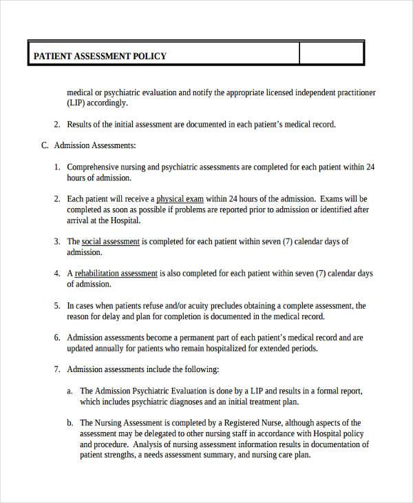 Sample Nursing Assessment Form - Design Templates - nursing assessment template