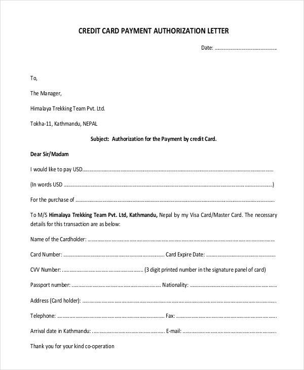 sample credit card authorization letter - Towerssconstruction