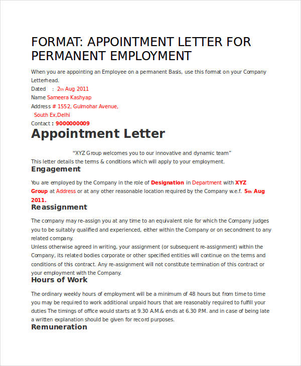 49+ Appointment Letter Examples  Samples - PDF, DOC - the format of a letter