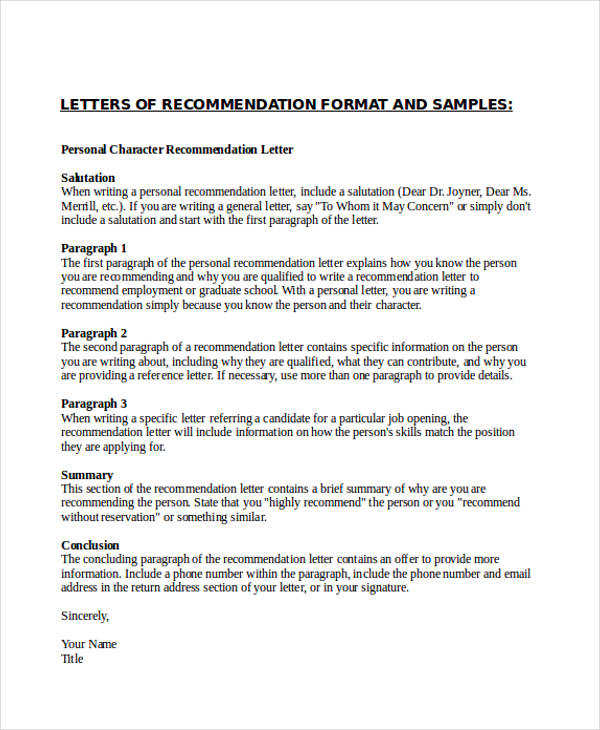 79+ Examples of Recommendation Letters - how to format a reference letter