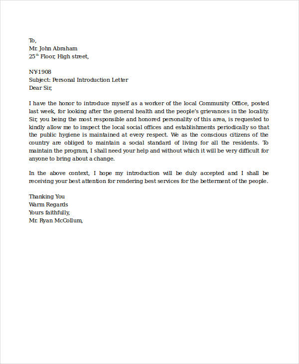 introduction business letter