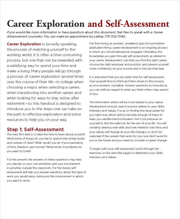 17+ Career Assessments Examples  Samples - career examples