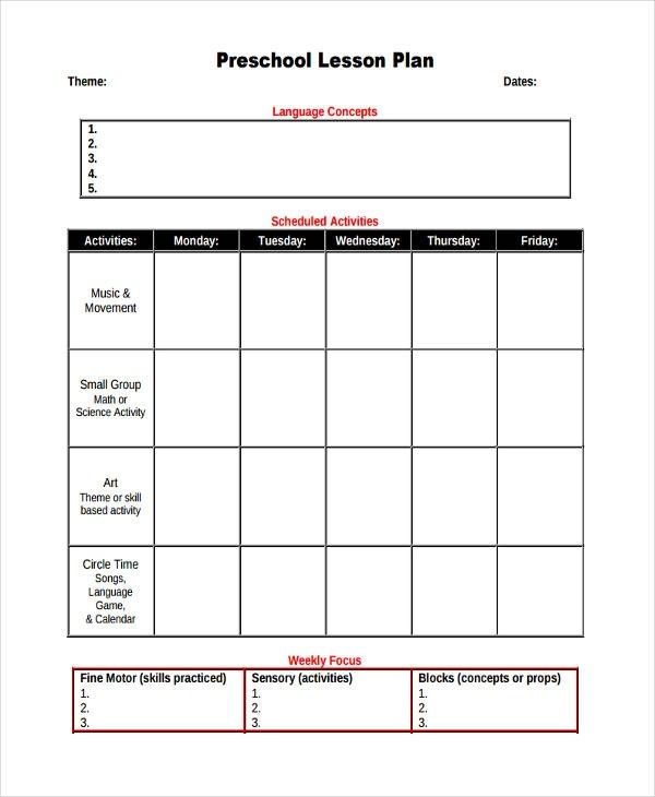 49+ Examples of Lesson Plans - preschool lesson plan template