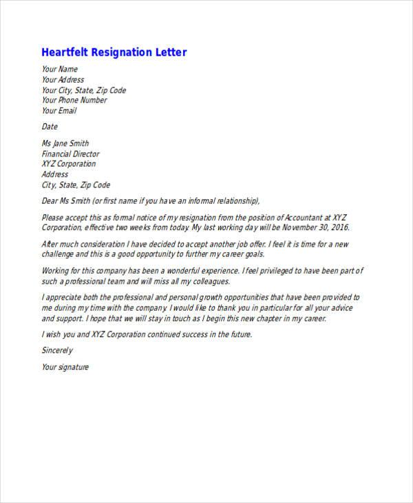 49+ Resignation Letter Examples - heartfelt resignation letter