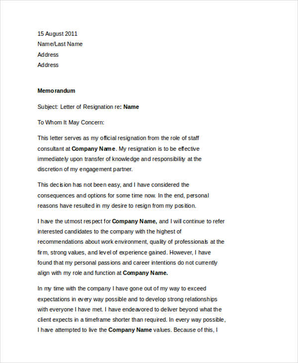49+ Resignation Letter Examples