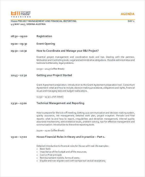 23+ Training Agenda Examples  Samples - Agenda Forms