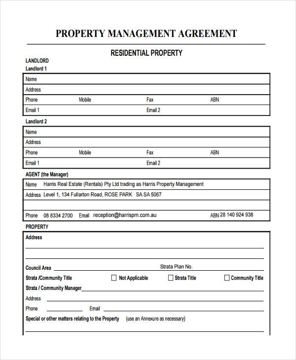 Property Management Agreements Property Management Agreement - management agreements
