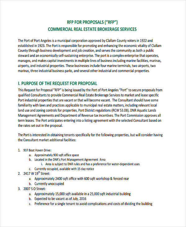 30+ Request For Proposal Examples   Commercial Lease Proposal Template