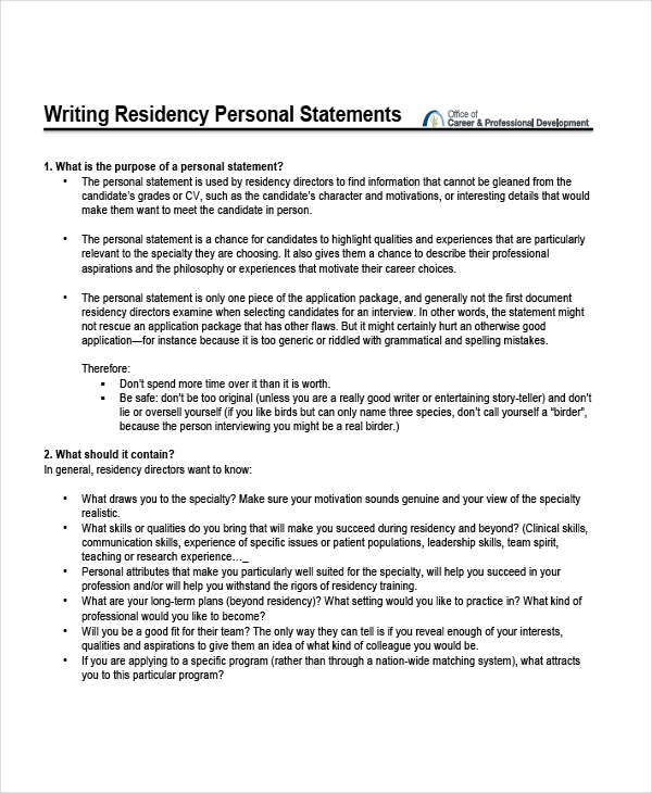 8+ Personal Statement Examples  Samples - residency personal statement