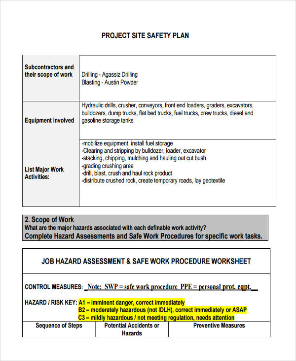 Sample Work Plans Sample Project Safe Work Plan Examples Of Work - Project Plan Sample