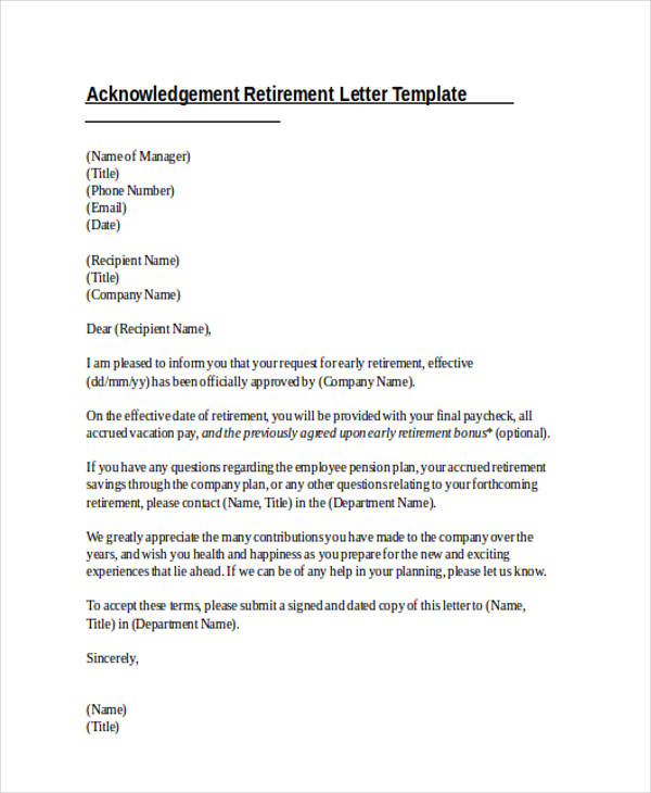 41+ Acknowledgement Letter Examples - retirement letters