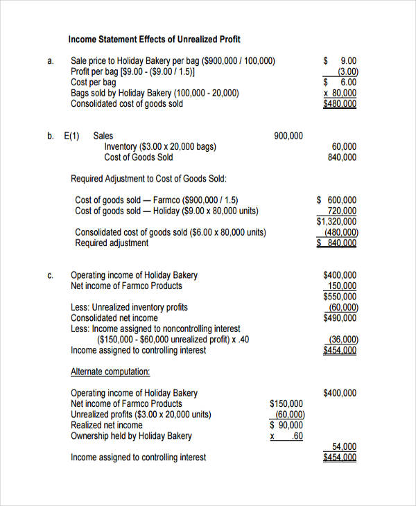 50+ Examples of Income Statement - income statement template