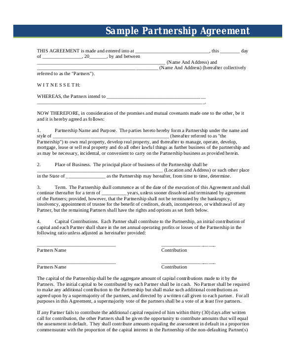 53+ Business Agreement Examples  Samples - business partnership contract sample