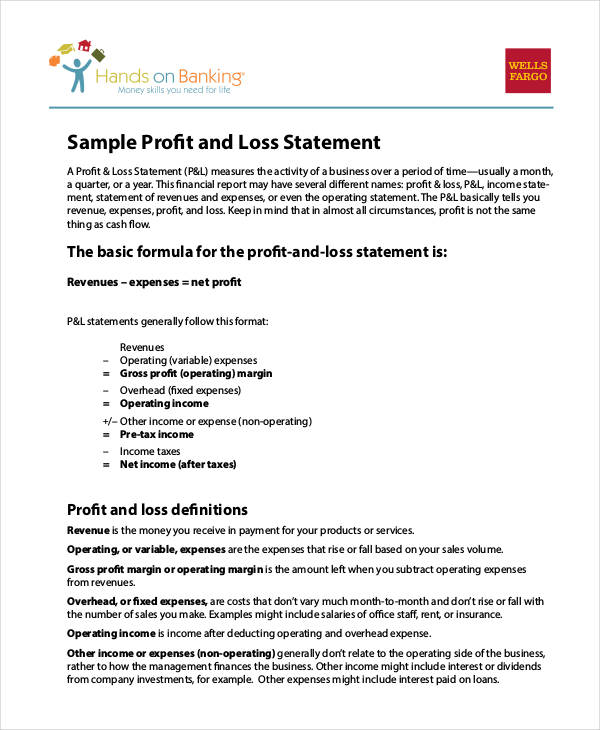 25+ Examples of Profit and Loss Statements - fillable profit and loss statement